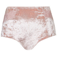 Velvet High-Waisted Knickers - Pale Pink