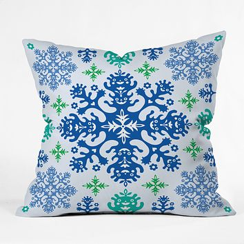 Andi Bird Monstrous Blue Throw Pillow