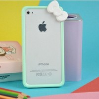 Mint Hello Kitty Ribbon Bow Bumper Frame Plastic Snap Case for iPhone 4/4S