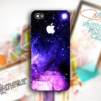 Purple Galaxy Nebula Apple Logo - Photo On Hard Cover For iPhone 4,4S