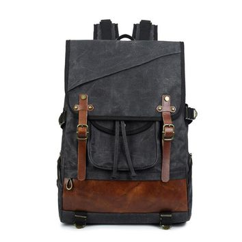 School Backpack trendy European Stylish Vintage Men Travel Backpack Leisure Large Capacity High Quality Waterproof Wax Canvas 14 Laptop  AT_54_4