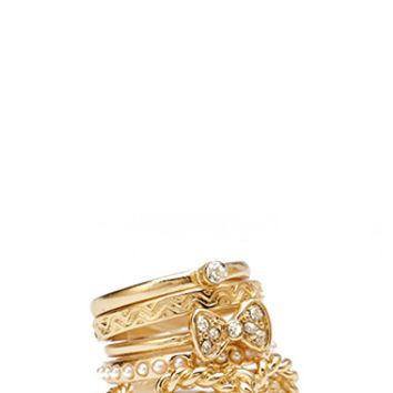 FOREVER 21 Bow Ring Set Gold/Clear