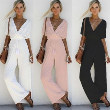 gzhouse Women Fashion Short Sleeve One Piece Summer Jumpsuit