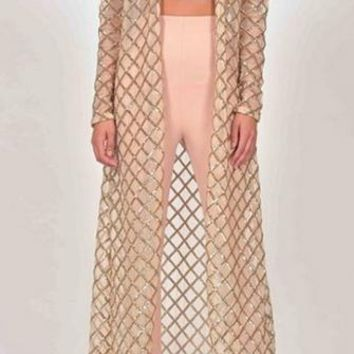 New Terrain Beige Gold Sequin Geometric Grid Long Sleeve V Neck Open Outerwear Cardigan Duster Jacket