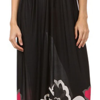 Sakkas Big Flower Graphic Print V-neck Cap Sleeve Empire Waist Long Dress