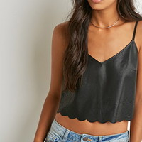 Perforated Faux Leather Cami