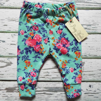Pink Floral on Aqua Leggings, Baby Leggings, Girls Leggings, Boys Leggings, Toddler Leggings, Baby Pants