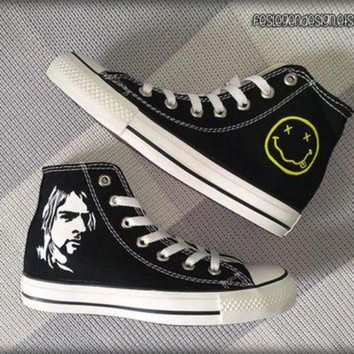 VONR3I Kurt Cobain 'NIRVANA' Custom Converse / Painted Shoes
