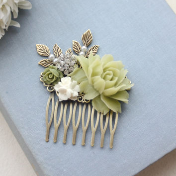 Ivory Rose, Green, Olive, Clear Rhinestone, Sprig Leaf, Brass Leaves Pearls, Flower Hair Comb. Bridesmaid Gift, Rustic Green Ivory Wedding