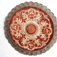 """Round metallic tapestry doily/ vintage tapestry doily/ Wedgewood made in Belgium 8"""" doily"""