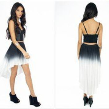 Black and White Ombre hi-low skirt. Tobi Brand like Nastygal Asos Size Small