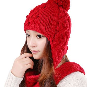 Fashion Female Beanies Autumn Winter Warm Knitted Hat Striped Openwork Women Hats Caps Ear Protection With Pom Pom 0351