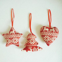 1pc Christmas Tree Ornaments Linen Red Heart Tree Star Home Decor Merry Christmas Ornament Decoration L30
