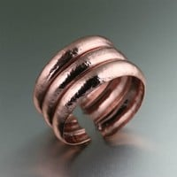 Raised Hammered Copper Cuff Bracelet