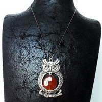 Necklace, Owl Necklace, Silver Plated Necklace