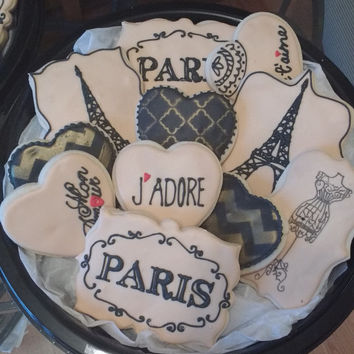 Paris Themed Decorated Sugar Cookies - (12) one dozen - Parisian - Eiffiel Tower - Favors - Bridal