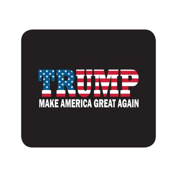 Donald Trump President MAGA USA US American Flag Black Mouse Pad Textile Surface