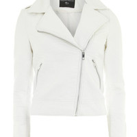 Ivory Faux Leather Biker Jacket