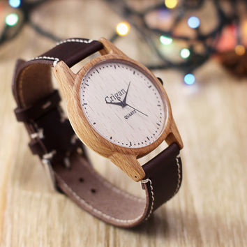 Wooden watch, mens wristwatch, beech
