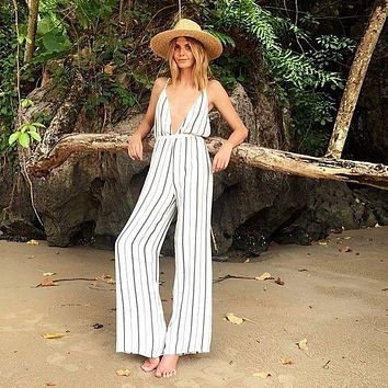 Strap Plunge Deep V Neck Sexy Backless Loose Vertical Striped Print White Wide Leg Jumpsuit Casual Palazzo Pants Jumpsuit Romper