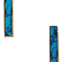 Turquoise Gold Bar Earrings