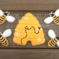 Beehive Sugar Cookies / Bee Sugar Cookies/ Bumble Bee Decor / What Will it Bee Baby Shower Favors / Bumblebee Sugar Cookies - 16 cookies