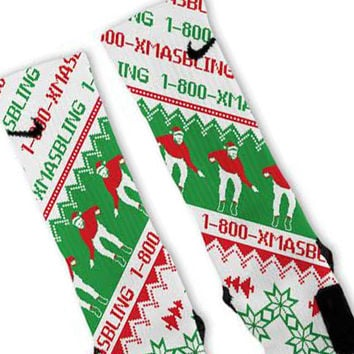 Drake Xmas Bling Green Custom Nike Elite Socks