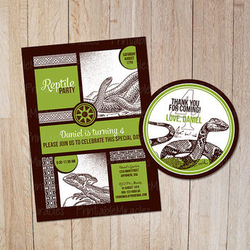 Reptile birthday party invitation Thank you label Kids reptile invite card Personalized snake party printables for boys / green brown white