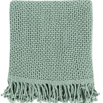 Harbor Cotton Teal Throw Blanket