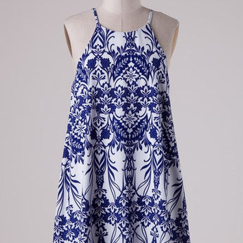 Jacquard Print Swing Shift Dress - White/Royal Blue