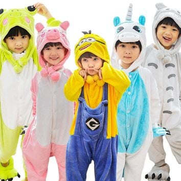 Kids Animal Onesuits Panda Dinosaur Pikachu Pokemen Unicorn Christmas Halloween Cosplay Costume Children Boy Girl Winter Pyajamas