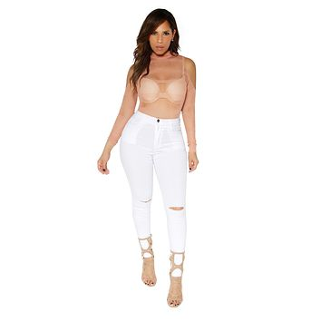 White Skinny High Waist Denim Pants With Knee Slit