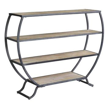 Olympia 3 Tier Rustic Metal and Natural Wood Bookshelf by Crestview Collection CVFZR2262