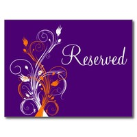 "Purple Orange White Floral ""Reserved"" Postcard"