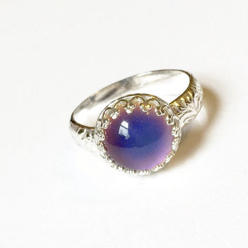 Mood Ring with Floral Band, Sterling Silver, Medium Round