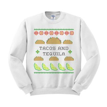 Tacos And Tequila Ugly Sweater Crewneck Sweatshirt