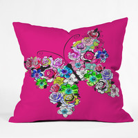 Mary Beth Freet Ink Blossoms Butterfly Throw Pillow