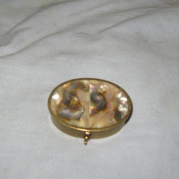 Antique Taxco Mexico  abalone shell brass Pill Box  ring Container Trinket
