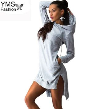 YIMOSI Women Pockets Pullover Svitshot 2018 Casual Hoodies Women Bts Tracksuit Hoodies Sweatshirt Female Slim Hoody Dress