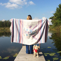 Vintage 1970's EAGLE AND SNAKE Mexican Coat Of Arms Blanket || Native American Aztec Navajo Throw || Pastel Blanket