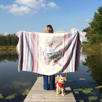 Vintage 1970's EAGLE AND SNAKE Mexican Coat Of Arms Blanket    Native American Aztec Navajo Throw    Pastel Blanket