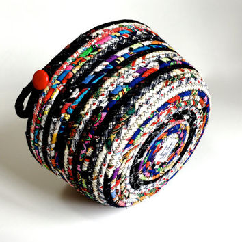 Scrappy Coiled Rope Basket - Clothesline Multi Colored Organizer -  Upcycled Fiber Art - Quilted Decor - Fabric Bowl - Sewing Room Decor