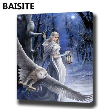 BAISITE  Oil Painting By Numbers Flowers Pictures Canvas E974 women with owl