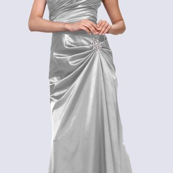 Silver Satin Prom Dress Pleated Bodice Strapless Sweetheart Neck