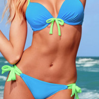 Summer's Here! Beautiful Two-Tone Push Up Bikini Set