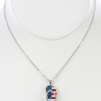 STARS AND STRIPES FLIP FLOPS PENDANT NECKLACE