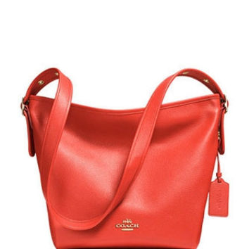Coach Dufflette in Polished Pebble Leather Shoulder Bag