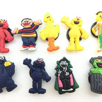 18 Pcs PVC Sesame Street Shoe accessories Shoe Charms Shoe Decorations  for Croc Bracelet Wristband Kid Gift