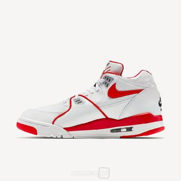 hcxx Nike Air Flight 89 Leather Fashion Causal Skate Shoes White Red