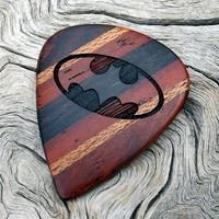 Premium Handmade Wood Guitar Pick - Laser Engraved Batman Tribute - Made with 4 Different Woods